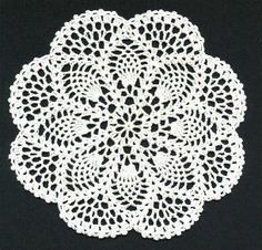 "Petite Pineapple Doily - I prefer the pineapple worked this way with the ""fans"" between the points. Lots easier than starting, stopping and weaving all those threads."