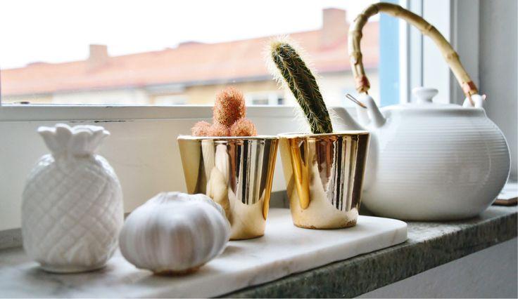 Gold pot copper cactus marble interior design