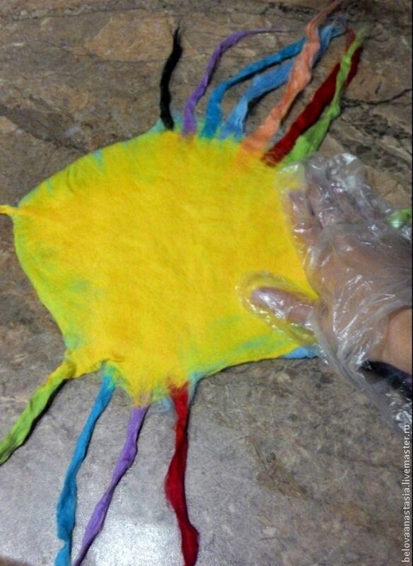 Сегодня я покажу вам, как я делала игрушку для своего малыша в технике мокрого валяния из остатков разноцветной шерсти. Для работы нам понадобится: - шерсть меринос желтый 30-40 граммов; - шерсть меринос голубой 30-40 граммов; - разноцветная шерсть меринос по 5-10 граммов; - ножницы; - шаблон для тела рыбки (у меня из обычного плотного пакета); - пленка; - машинка для валяния; - маркер; - мыльный…