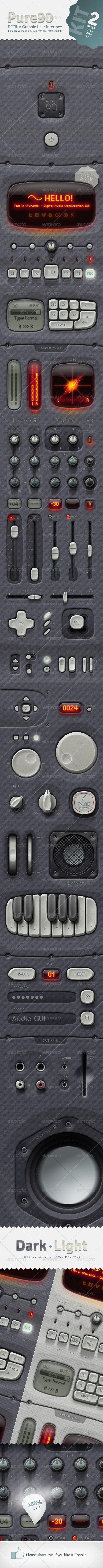 Pure90 - Retina Digital Audio Workstation GUI Kit
