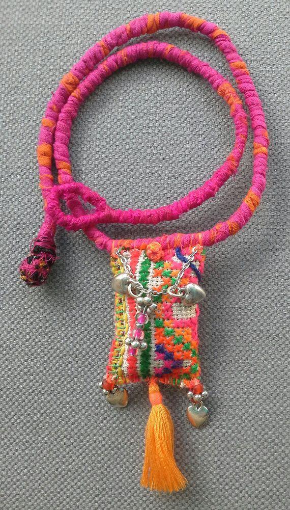 Necklace/pendant textile, Bohemian spirit. Bright and summer colours.