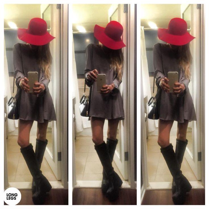 BUCANERAS NEGRAS CAPELINA ROJA  Vestido largo suelto, que parece remera, los que estan tendencia Hot ahora color gris... ♥