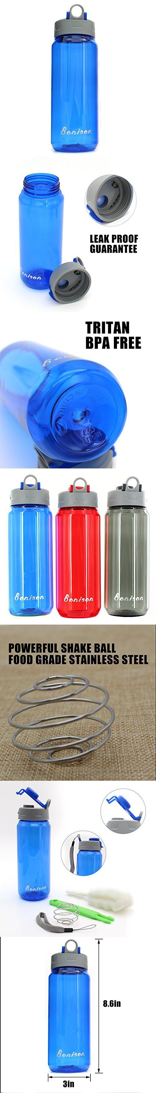Clearance Sale-25 Oz Shake Bottle With Flip Top Spout Mixer Ball To Mix Protein Powder Easy Shaker Water Bottle (Blue)