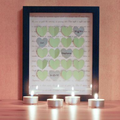 Paper hearts & Shadow Boxes. DIY wedding or anniversary gift.