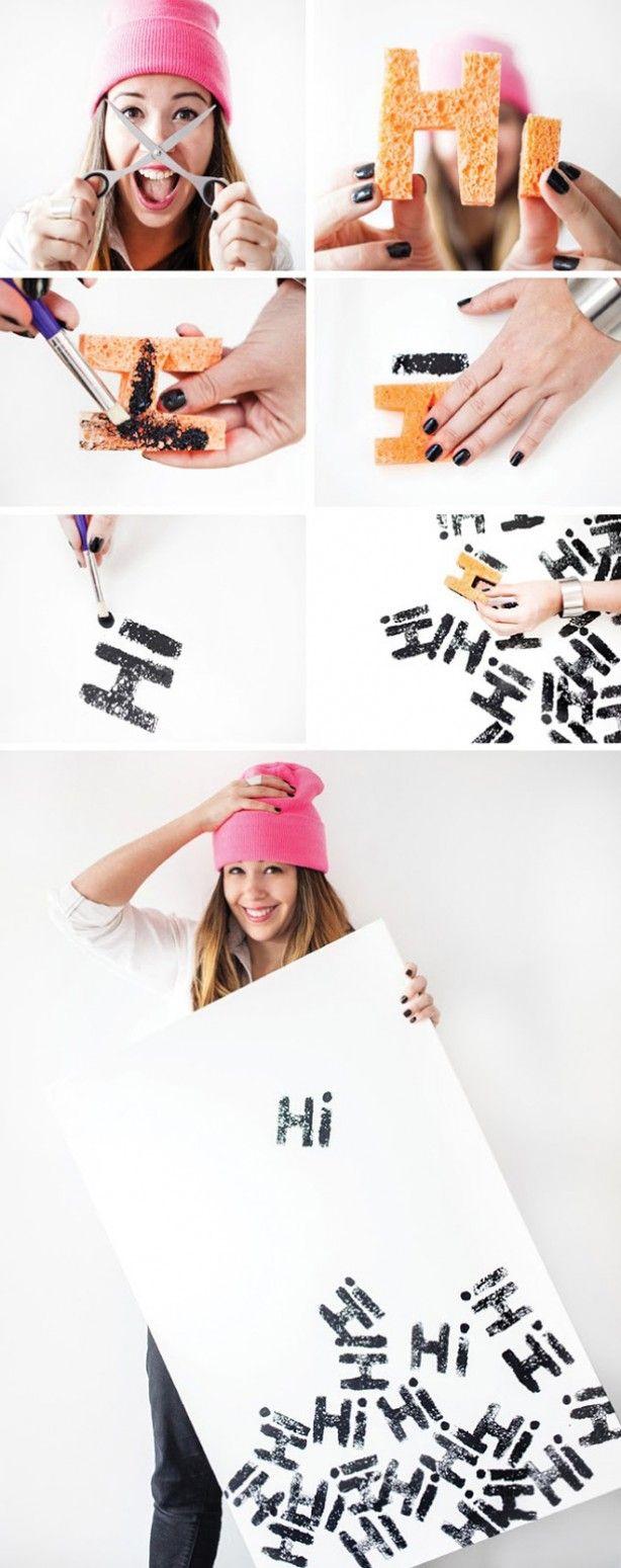 Knip letters uit en spons en decoreer je muur!!