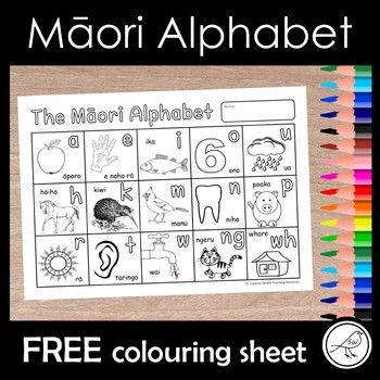 The Māori alphabet for students to colour. Updated December 2017. CLICK HERE to view more of my Maori Resources. CLICK HERE