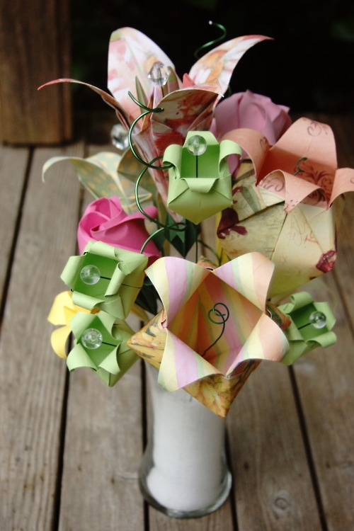 16 best origami images on Pinterest | Cash gifts ... Origami Flower Bouquet Instructions