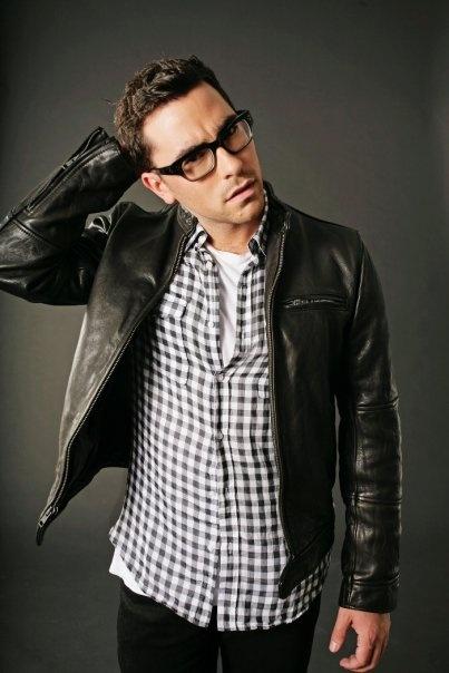 Dan Levy, Black Leather Jacket & Checked Shirt, Men's Fall Winter Fashion.
