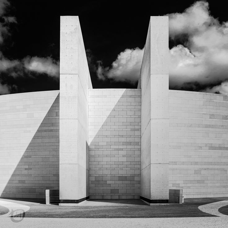 Simple Architecture in Fatima, Church of the Most Holy Trinity in Fátima, Portugal. Architect Alexandros Tombazis
