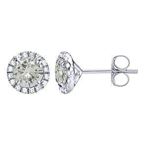 Gemstone Fine Earrings 10k White Gold 1.25 Ct Black Moissanite Halo Stud Earrings With Push Back