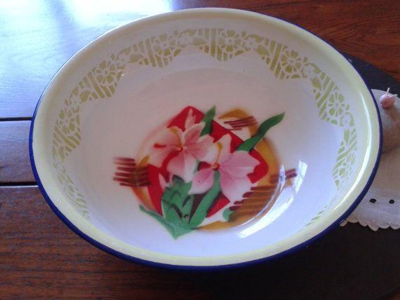 Yamata floral enamel bowl Rustic farmhouse by VintageToGoEasy, $22.00