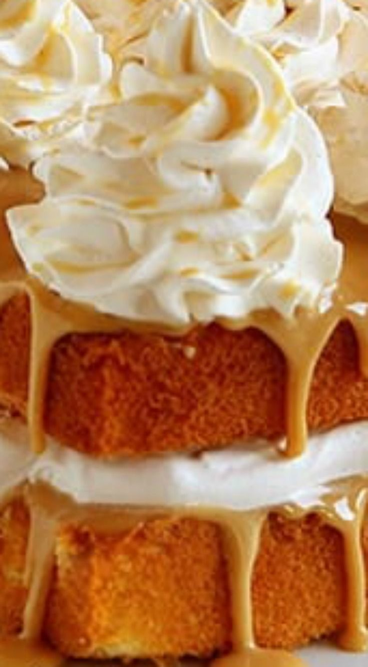Caramel Cake With Caramel Frosting And Apple Cinnamon Whipped Cream