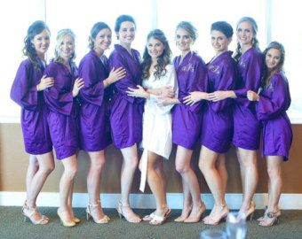 Wedding gift Bridesmaid robes Coral wedding robe peach