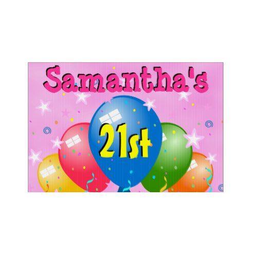 Balloons 21st Birthday Party Age Custom Yard Sign