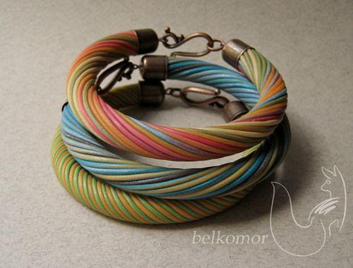 fimo - twisted bracelet tutorial  Csavart karkötő fimo gyurmából. Lépésről-lépésre leírás.