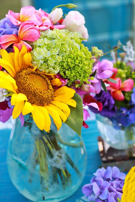 Colorful Posies on Dinner Table