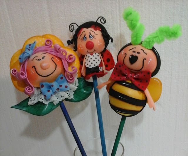 Muñecos Goma Eva. EXPIRUCHAS: Preciosos lápices decorados