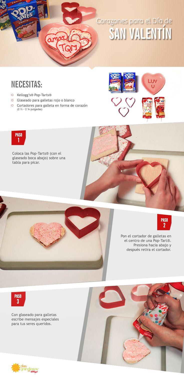 Sorprende a tus niños con estos deliciosos snacks hechos con Pop-Tarts®. Solo corta con forma de corazón y deletrea palabras amorosas con glaseado.