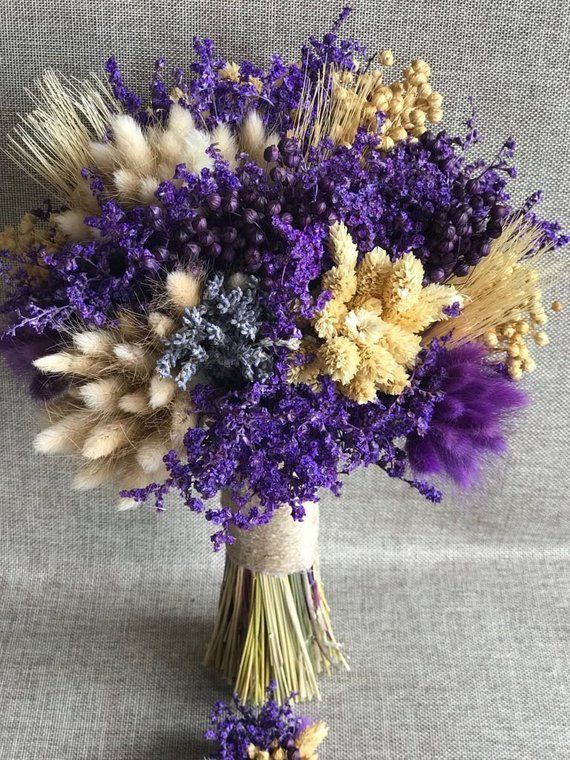 Wedding Dried Flowers Bouquet Bridal Bouquet And Boutonniere 2 Pieces In 2020 Dried Flowers Wedding Dried Flowers Dried Flower Bouquet