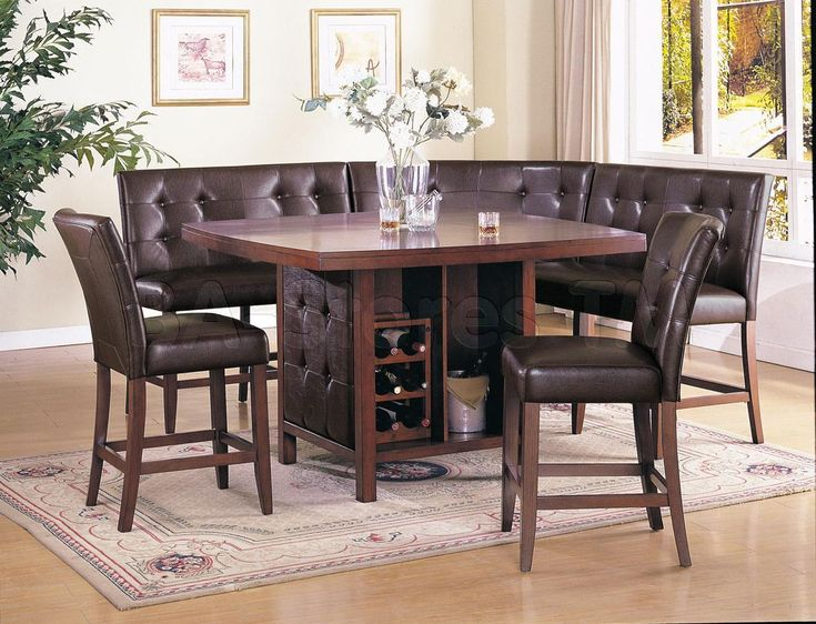 6 Pc Bravo Collection Espresso Finish Wood Counter Height Dining Table Set  With Booth Style Seats From AMBShopping At SHOP.