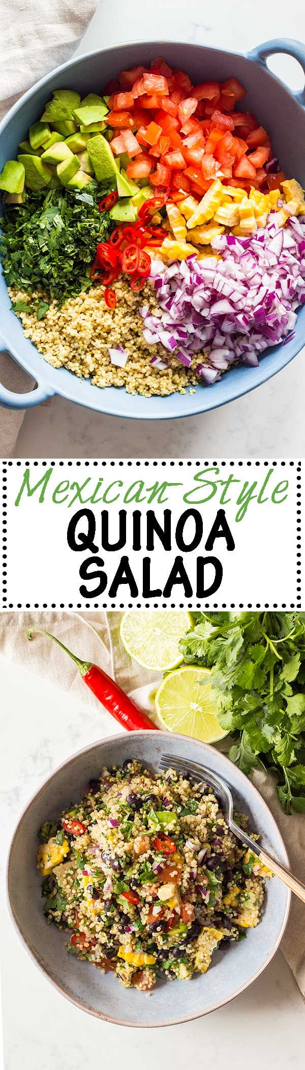 The most delicious Mexican Quinoa Salad of all times. Healthy avocado, black beans, a boat load of cilantro and a little heat make this Mexican quinoa recipe more than complete. #quinoa #mexican via @greenhealthycoo