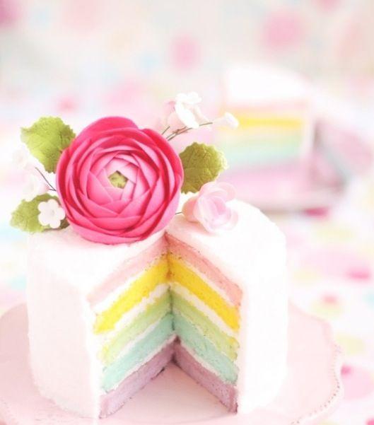 パステルレインボーレイヤーケーキ♡