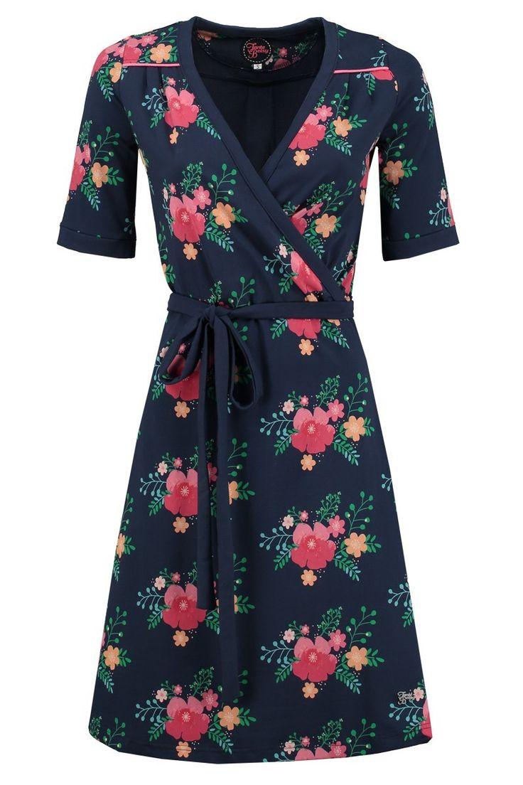 Tante Betsy dress penny poppy floral print dress dark navy blue jurk bloemen print donker blauw