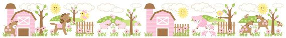PINK BARNYARD ANIMALS wall border decals for baby girl nursery or kids room decor - brown and pink #decampstudios https://www.etsy.com/listing/161523142/pink-barnyard-animals-wall-border-decals?