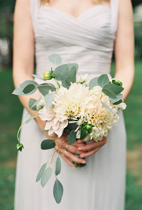Brides: Dahlia Wedding Bouquets  Smaller - for bridesmaids? Maybe with some blue tones - or berries?