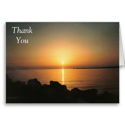 Thank You Card Sunset Over The Sea Paros Greece