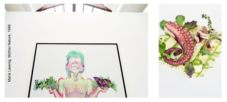 oil on canvas by Maria Lassnig, octopus cooked by Guido Haverkock chef, photo Francesca Pagliai ©