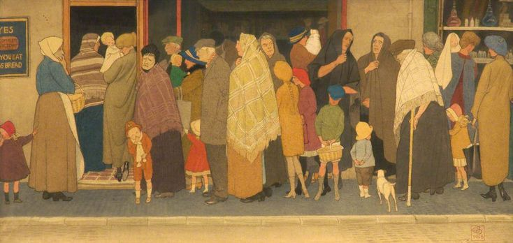 The Food Queue by Joseph Edward Southall 1918
