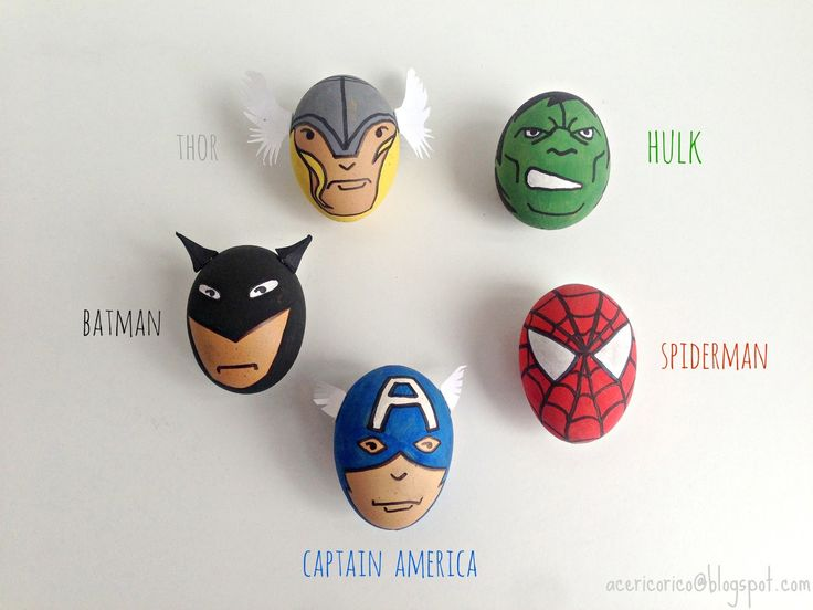 Easter eggs. Great Easter craft for little boys : superhero easter eggs