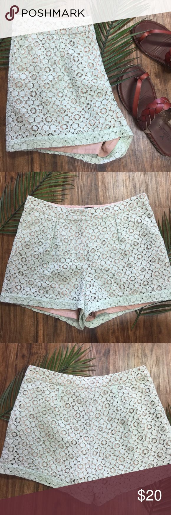 Victoria Beckham For Target Lace Mint Shorts Looks like they have never been worn. These are a beautiful mint color with a tank layer underneath. No trades. Victoria Beckham for Target Shorts
