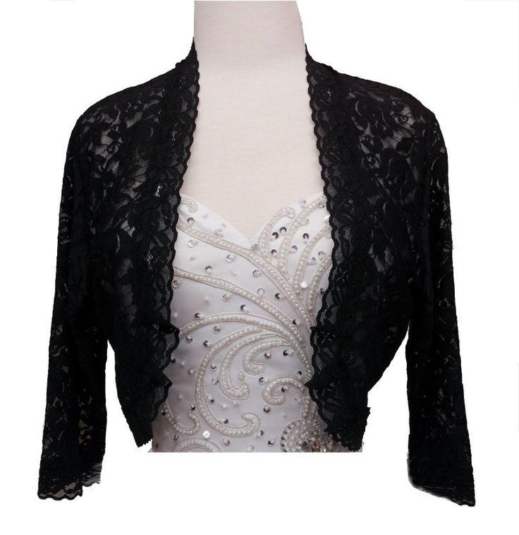 CLEARANCE - Black Lace Shrug Jacket 3/4 Length Sleeve Mid Length Bridal Bolero