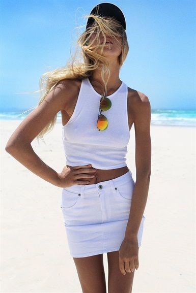 White Denim Skirt | SABO SKIRT