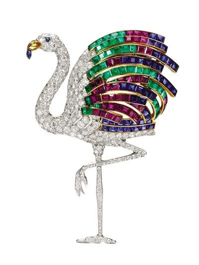 The Duchess of Windsor's flamingo brooch, 1940, by Cartier with diamonds, sapphires, rubies,emeralds set into yellow and white gold.