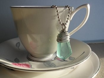 Wire Wrapped Re-cycled Glass Pendant | Wired Love