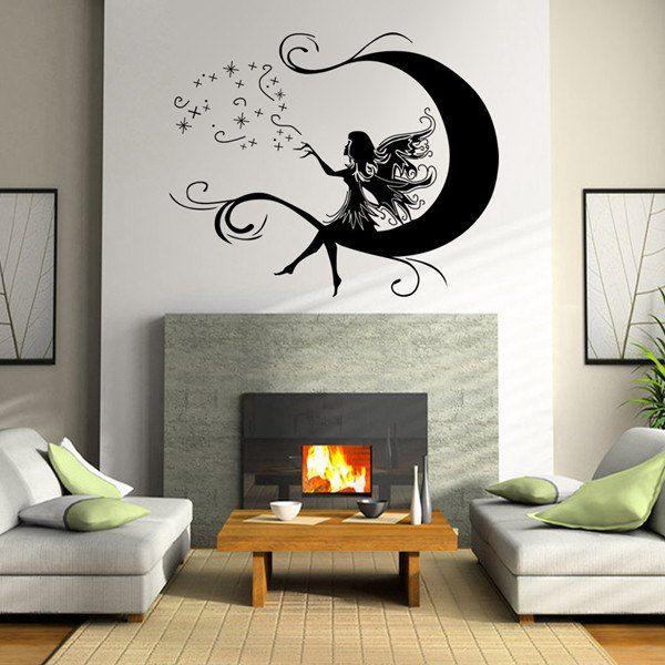 high quality cartoon moon and flower faerie pattern diy wall sticker