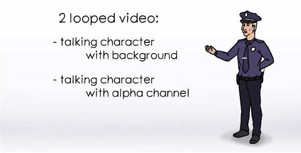 Talking Character - Cop (Stock Animation)