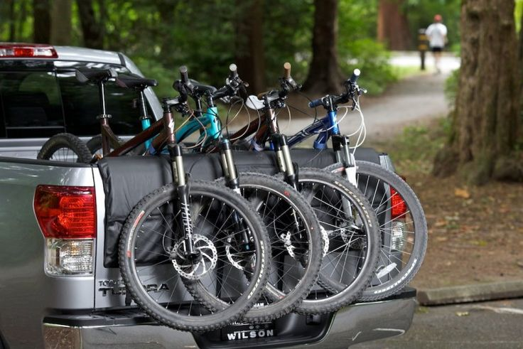 Hold up to six bikes on your tailgate, keeping bikes sturdy, protecting your vehicle, and leaving space for more gear in the bed. See the Softride Shuttle Pad at http://www.softride.com/rack-products/specifications/softride_shuttle_pad_truck_tailgate_pad