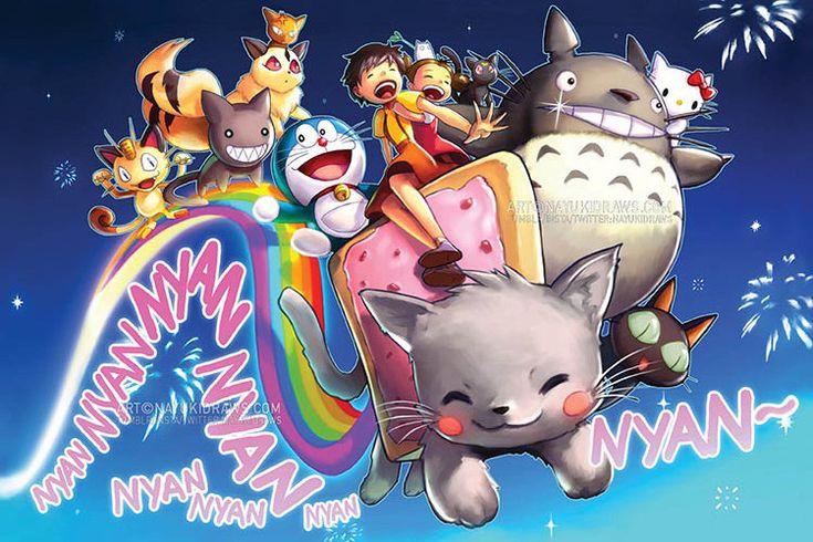 Nyan cat cute anime kitty poster print wall art home decor