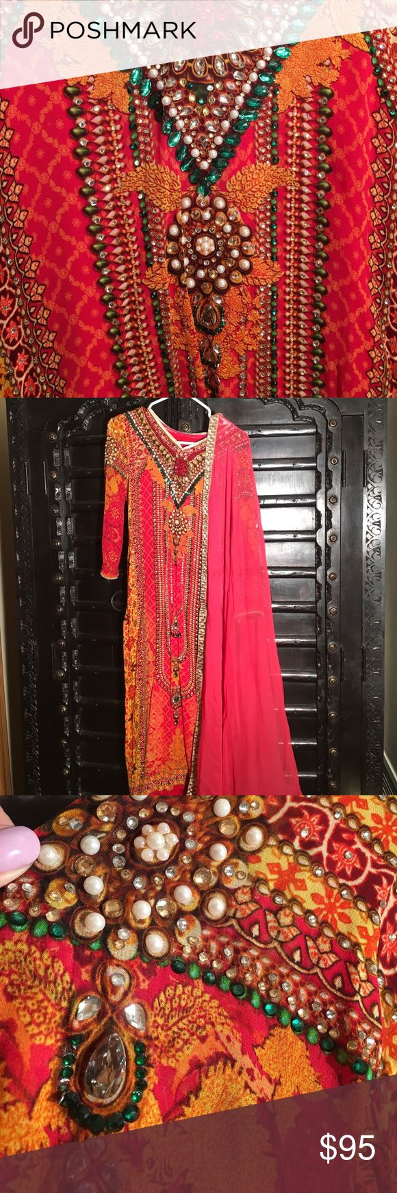 Churidar Indian punjabi suit Beautiful Punjabi suit with churidar pajama. Very colorful with blends of oranges, yellow, pink, and emerald accents! Fit for women's size 6 in US dresses. Dresses Wedding