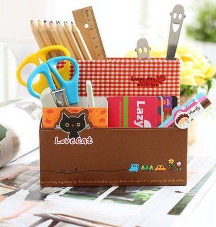 Eco-Friend Love Cat DIY Makeup Desktop Container Storage Box Organizer Case: Amazon.co.uk: Kitchen & Home