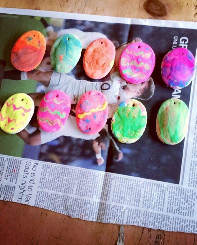Salt dough Easter egg painting