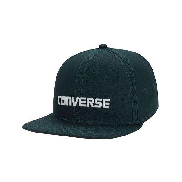 Converse Core Shield Snapback Hat ($30) ❤ liked on Polyvore featuring accessories, hats, green baseball hat, flat bill hats, adjustable baseball caps, flat bill baseball hats and baseball cap