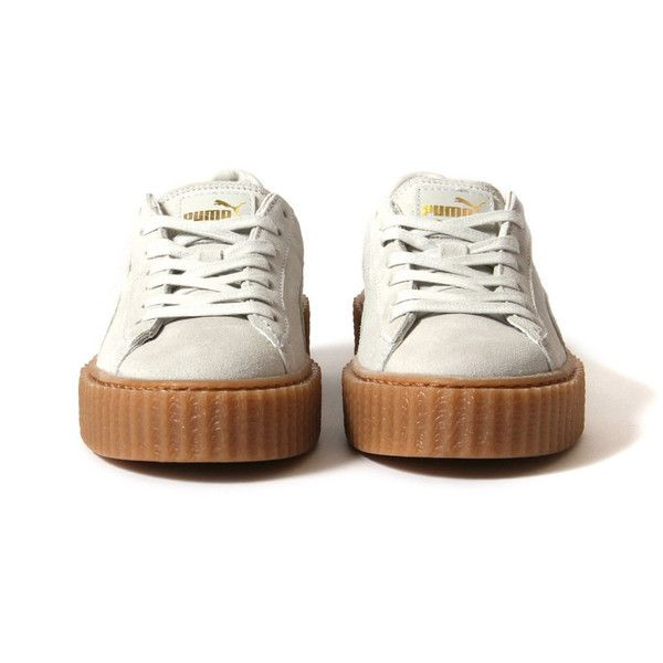 Puma Women Suede Creepers by Rihanna (Star White/Oatmeal) ($120) ❤ liked on Polyvore featuring shoes, sneakers, creeper shoes, suede leather shoes, white shoes, star shoes and white creeper shoes