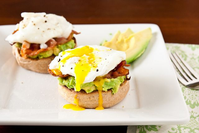 Avocado Eggs Benedict (After eating note: Yummy! My version was 248 calories-- 1 whole wheat sweet potato roll, 1/4 avocado, 1 slice turkey bacon, and 1 egg topped with some salt and pepper)