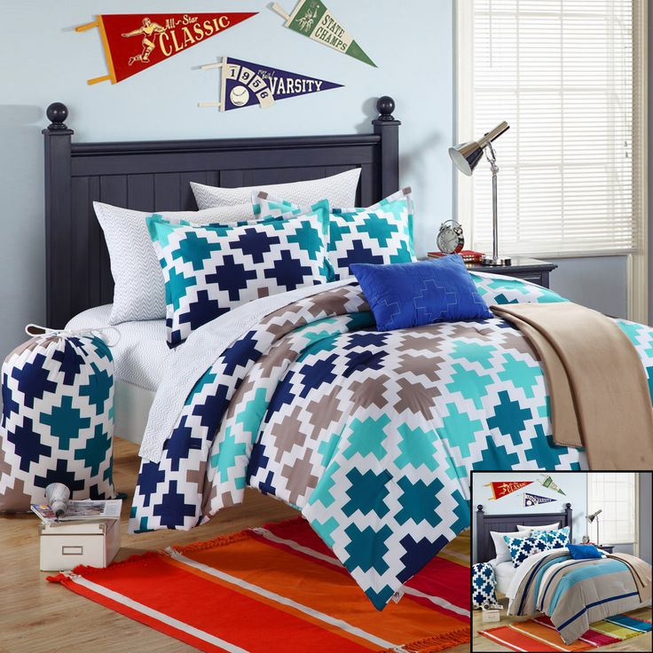 Chic Home Byte 10-Piece Comforter Set Full Size, Shams Decorative Pillows and Sheet Set Included. #LuxBed #Dorm #Bedding #Student
