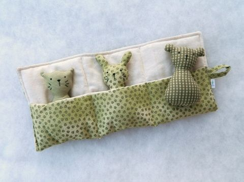 cat, bunny and bear with holder